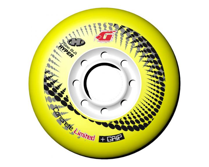 Hyper Concrete Wheels 76mm Yellow - 4 Pack