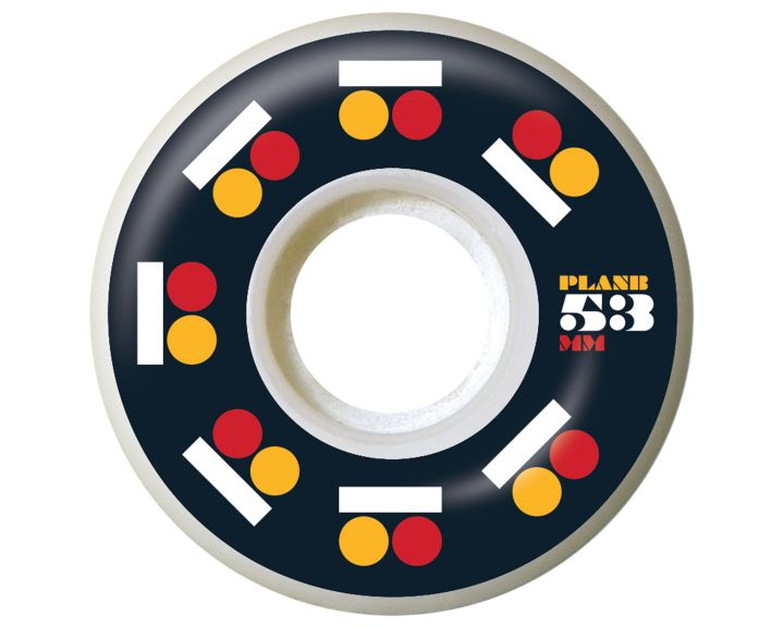Plan B Wheel Icon Blk/Red/Org 53mm